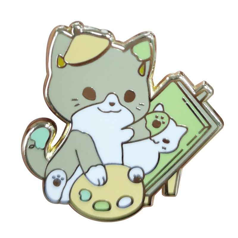 Pin de solapa chapado en oro, bonito gato pintor, Chaquetas vaqueras de artista, accesorio para bolso