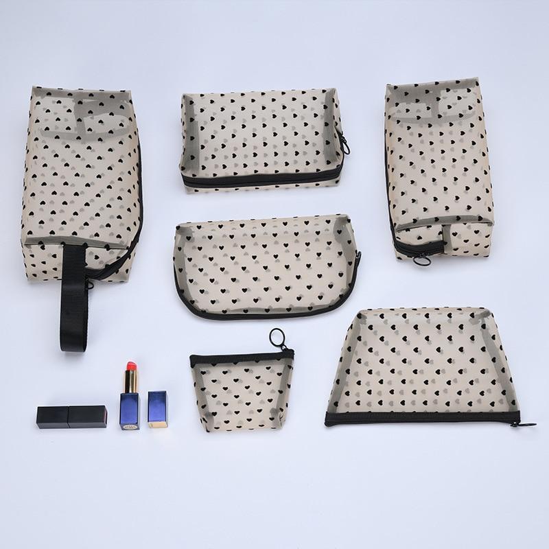Женская косметичка, черные прозрачные дорожные сумки для туалетных принадлежностей, органайзер для макияжа, сумки, чехол с принтом в виде с...