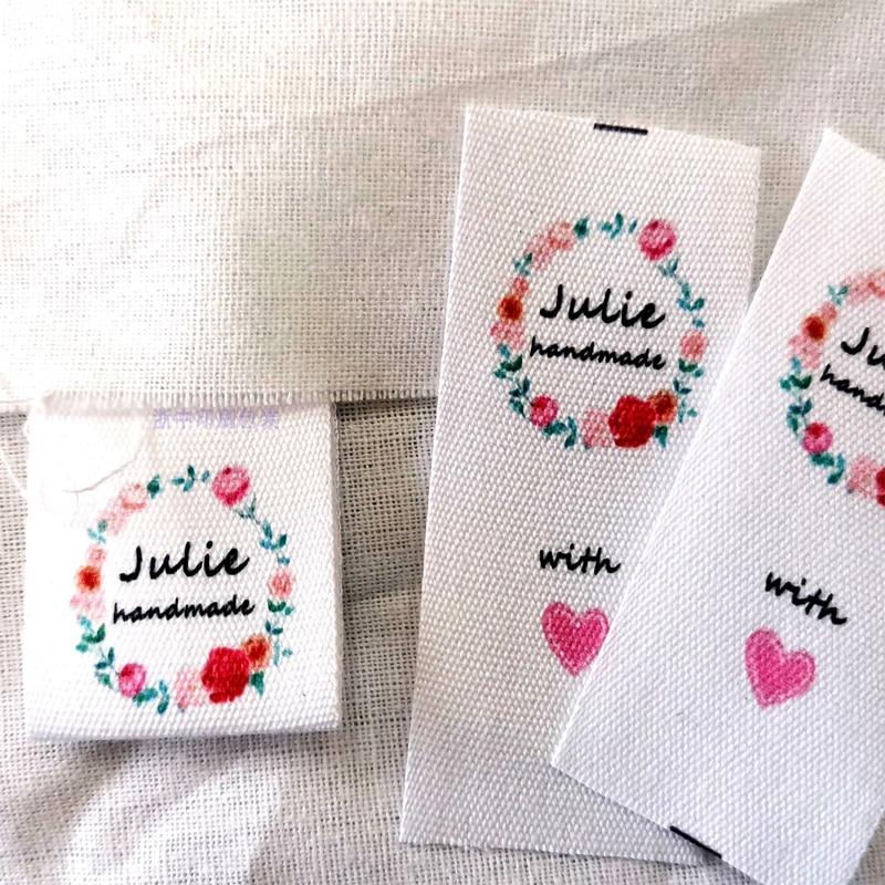 Изготовленный на заказ логотип DIY персонализировать этикетки хлопок одежда; Private бирка этикетка ручной работы из хлопка Цвет Напечатать имя...