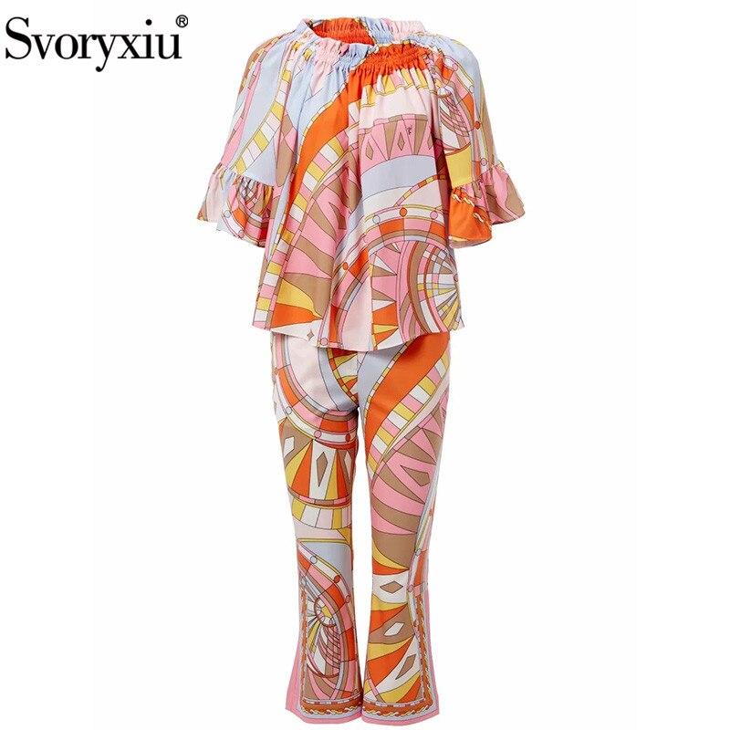 Женский комплект из 2 предметов Svoryxiu, блузка с принтом и открытыми плечами + укороченные штаны, весна-лето 2019