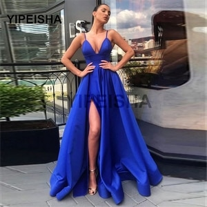 Royal Blule A-Line Satin Evening Dress Sexy Spaghetti Straps V-Neck High Slit Floor Length Prom Gown Robe Soiree