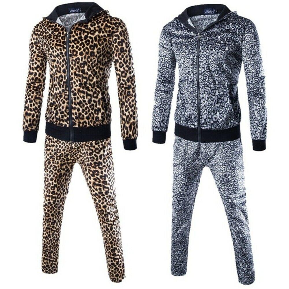 Мужской Леопардовый спортивный костюм, повседневные штаны, худи, спортивный костюм, Свитшот