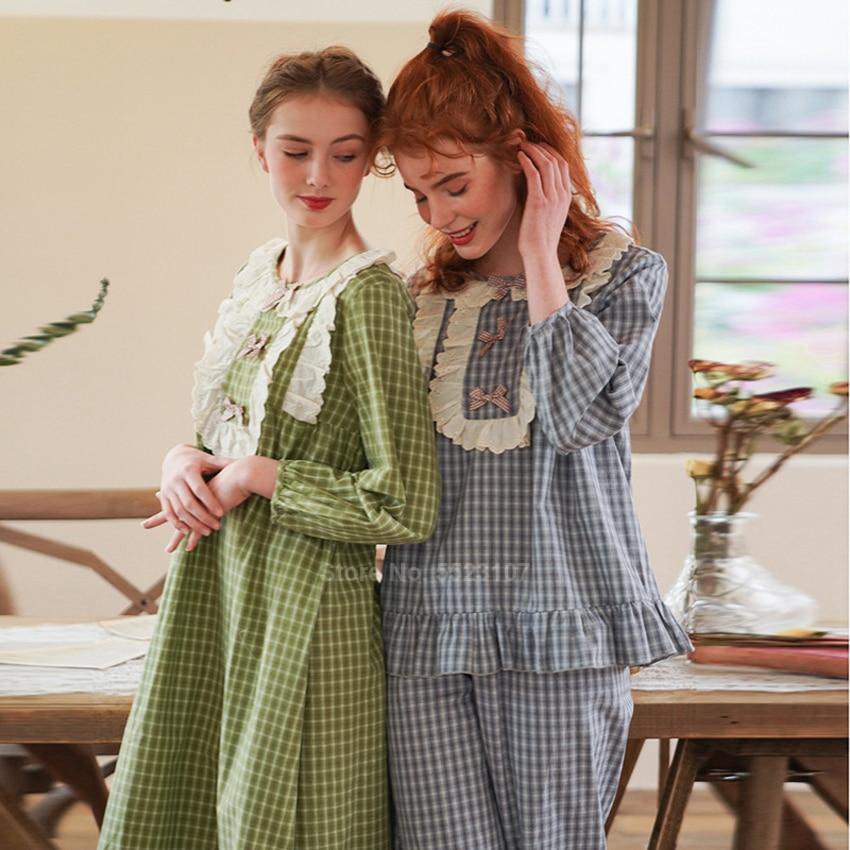 Renaissance Court Princess Style Women Pajamas Set Full Sleeve Top Trousers Suit Jacquard Bow Tie Lolita Sleepwear Nightgown