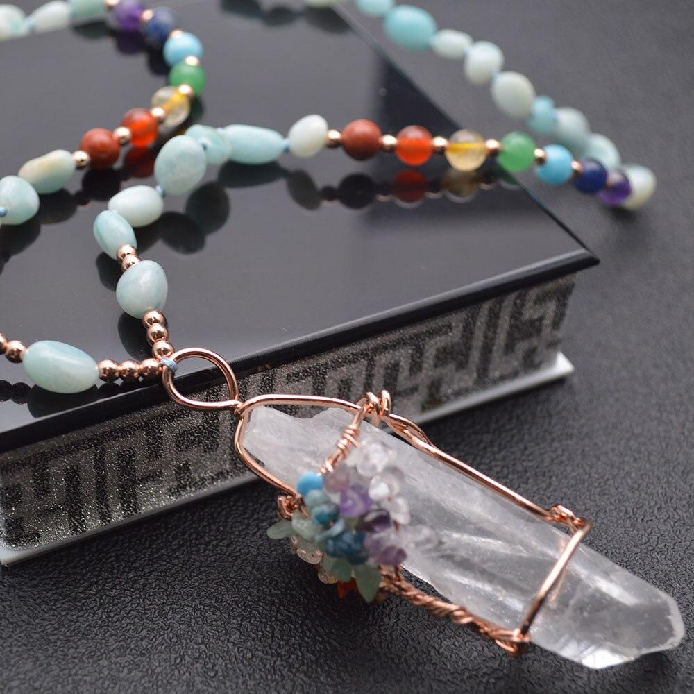 Pingente de cristal artesanal fio envolvido multi chips pedra chakra vida árvore pedra mistura pedra preciosa ponto corrente energia jóias