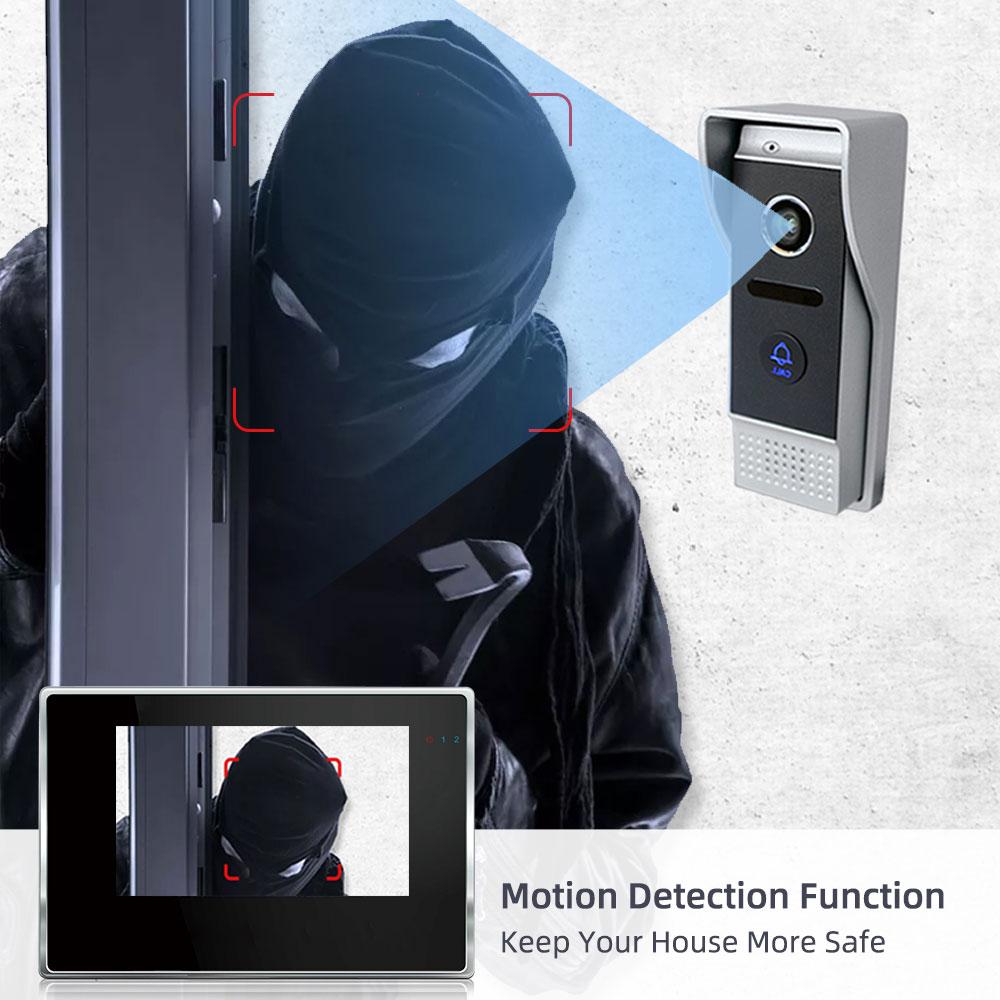 New Wireless 7 inch IP WIFI video intercom for Home Motion Detection Monitor Doorbell  Door APP Phone Talking Unlock White/Black enlarge