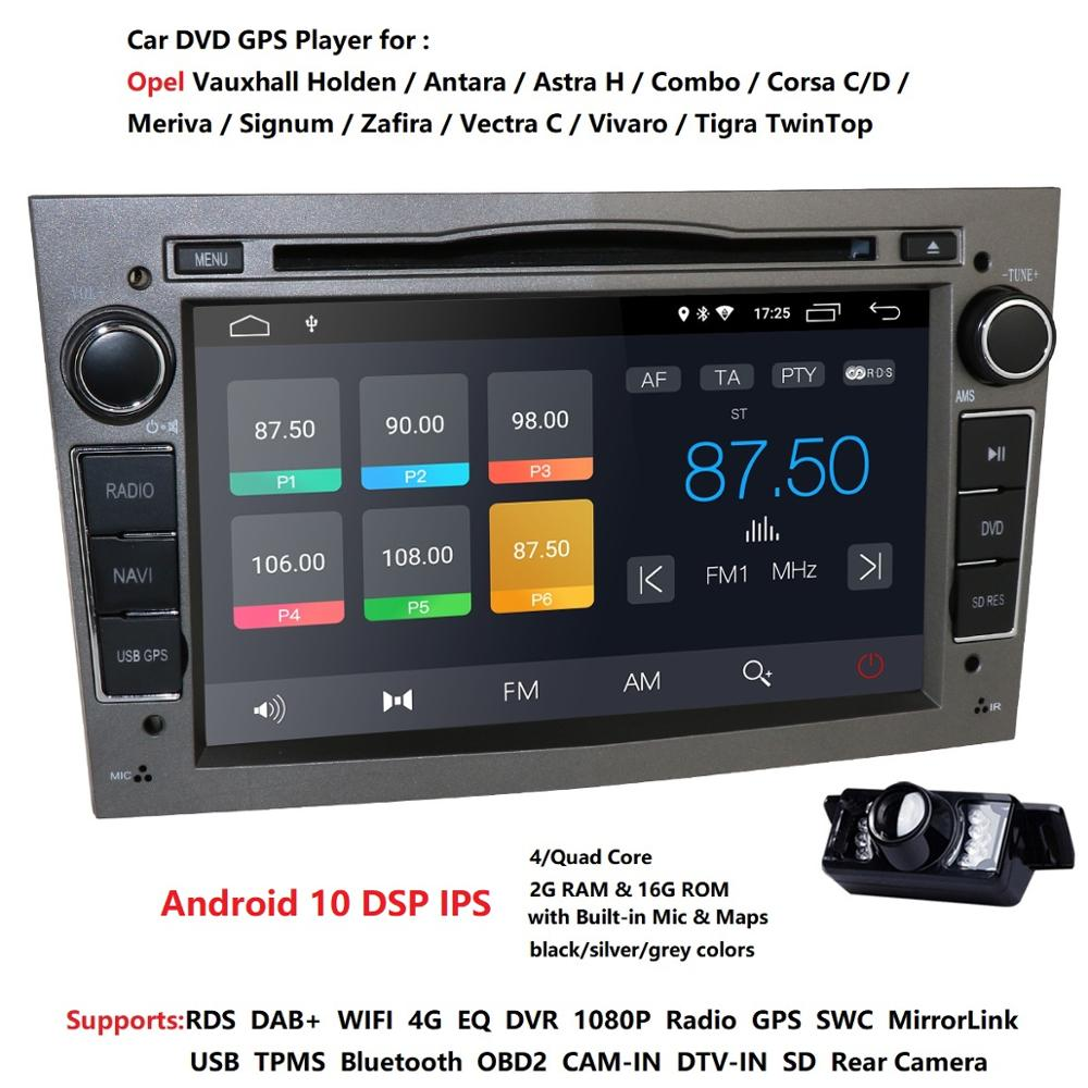 Ips dsp android 10 4g 64g 2 din carro multimídia gps para vauxhall astra h vectra antara zafira corsa dvd player estéreo cam dtv dab