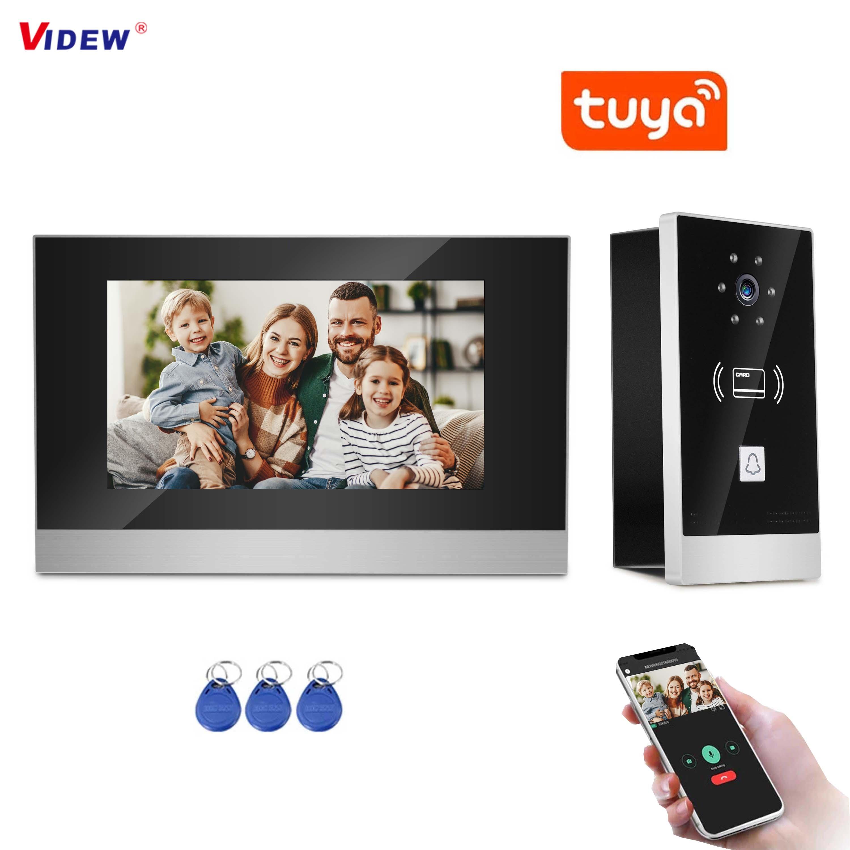 VIDEW 7 Inch Video Doorbell Camera 2 Wires Intercom Tuya Smart APP Door Phone Night Vision Entry System for Villa Home Security