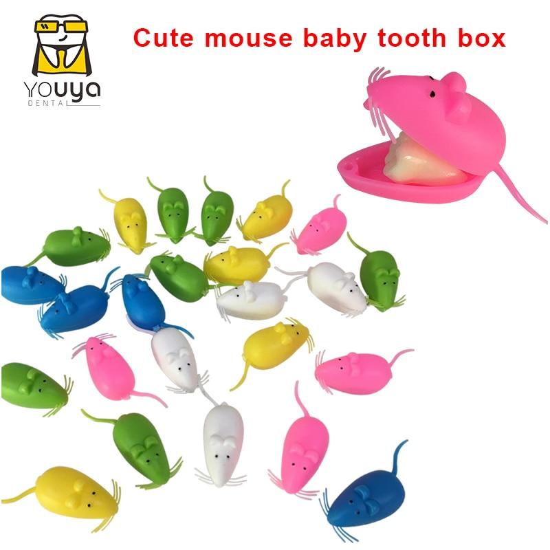 جميل ماوس شكل الحليب الأسنان صندوق تخزين الأسنان الجنية صندوق الطفل النفضية الأسنان تذكارية حفظ الحاويات أداة هدية الأسنان