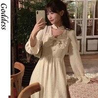 korean style white sweet bow dress vintage elegant tender women casual clothing slim puff short sleeves robe femme summer design