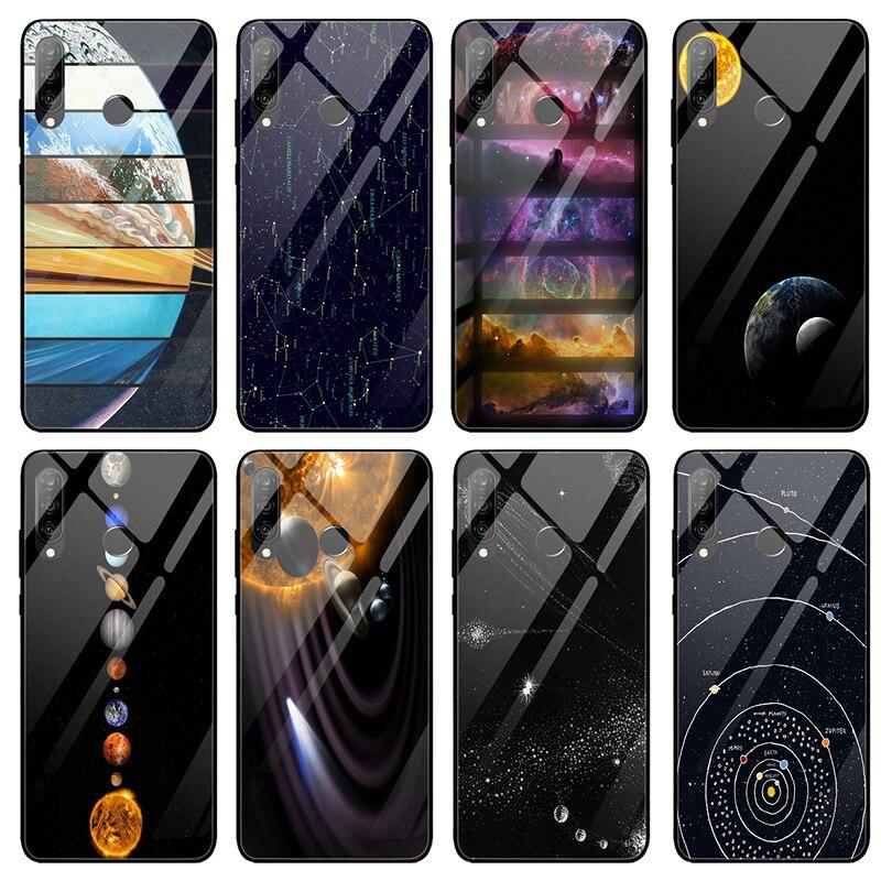 Fundas de teléfono de cristal templado para Huawei Honor 6X 8 8A 9 10 P20 P30 amigo 20 Y6 Y9 Lite Pro 2019 planeta del espacio exterior de la nave espacial
