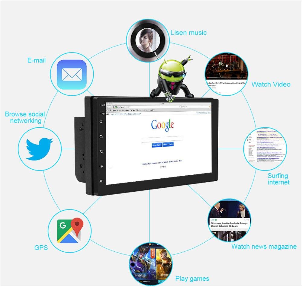 7'' Car Radio Multimedia MP5 Player GPS Navigation Camera Bluetooth Stereo Audio Auto reverse Parking view Online Maps