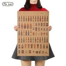 Bier Enzyklopädie von Grafik Evolutionäre Geschichte Bar Zähler Schmuck Küche Retro Vintage Poster Wand Aufkleber
