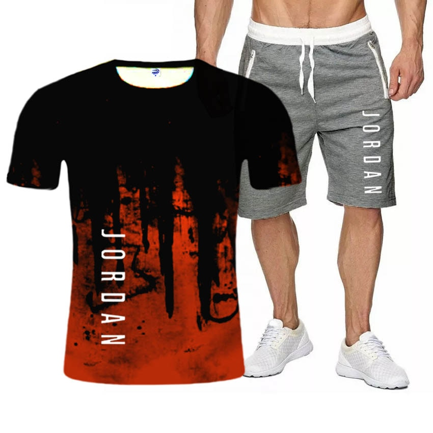 2021 Summer New suit Men's Leisure T-shirt Fashion style Men's Assembly comes with a handsome set Sh