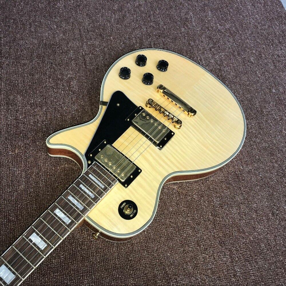 Custom shop.Tiger Flame standard electric guitar.Natural wood color gitaar.black pickguard guitarra. enlarge