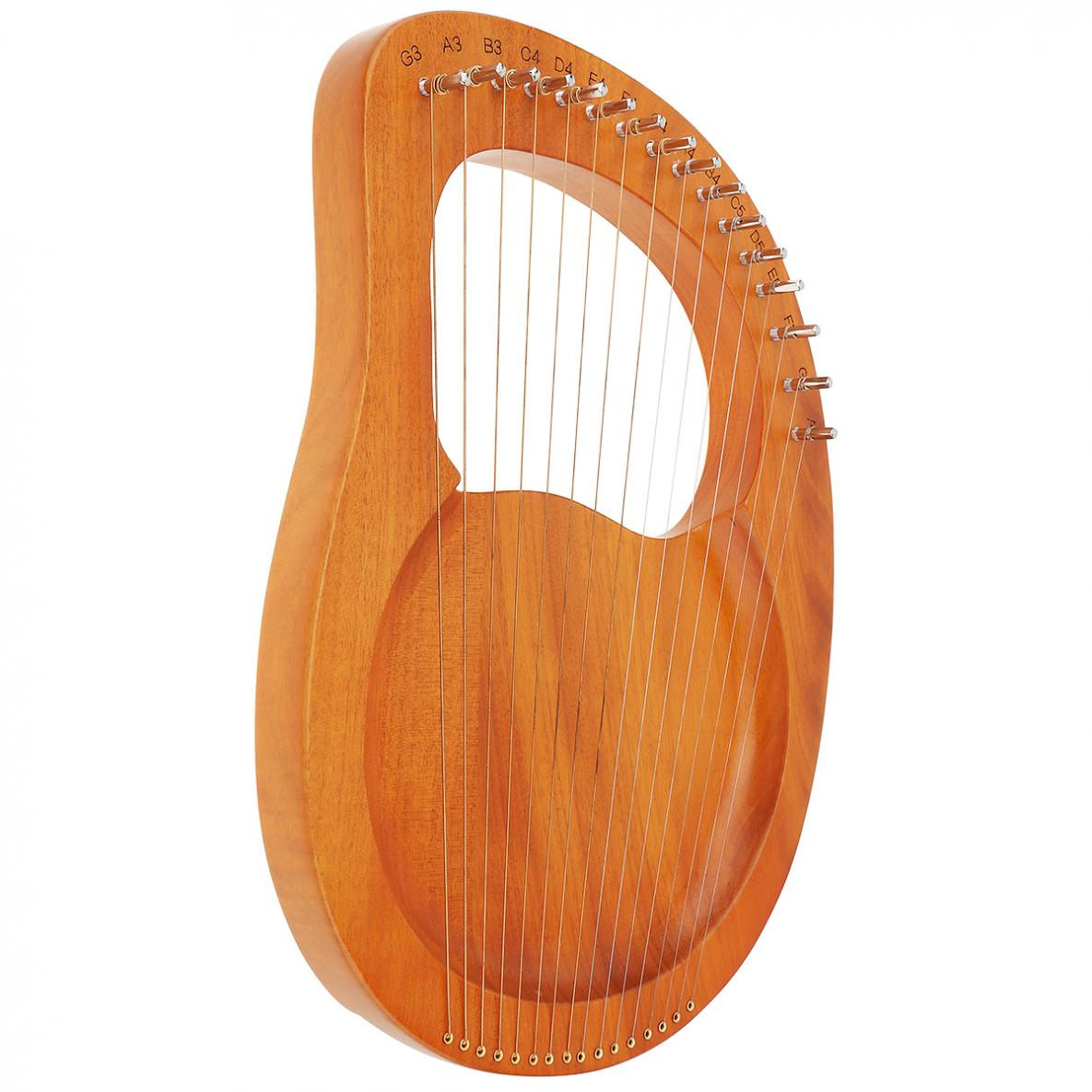 16 Strings Lyre Harp Solid Mahogany Wood with Pickup Tuning Hammer String Instrument for beginners / Professional Performance enlarge