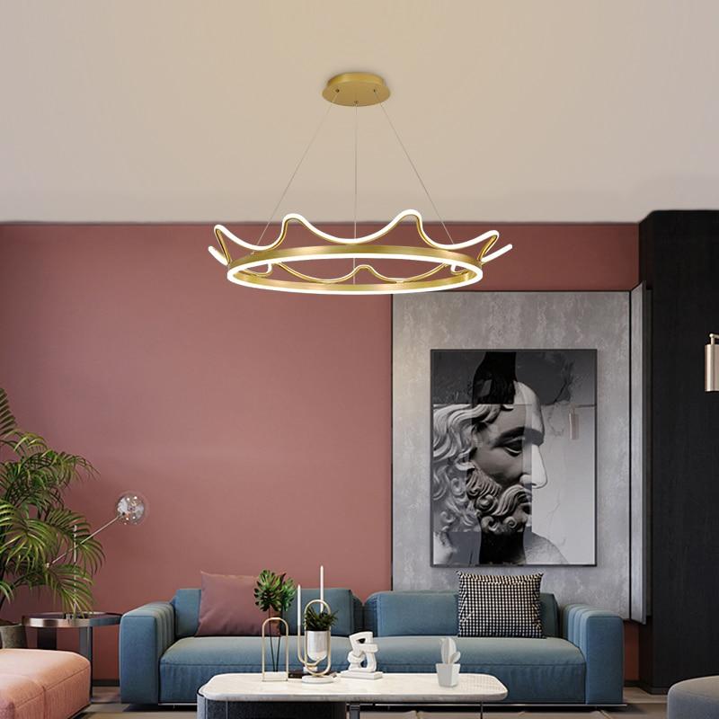 مصباح سقف معلق على شكل تاج وردي ذهبي ، تصميم فاخر ، إضاءة داخلية ، قطر 50 سنتيمتر ، جديد