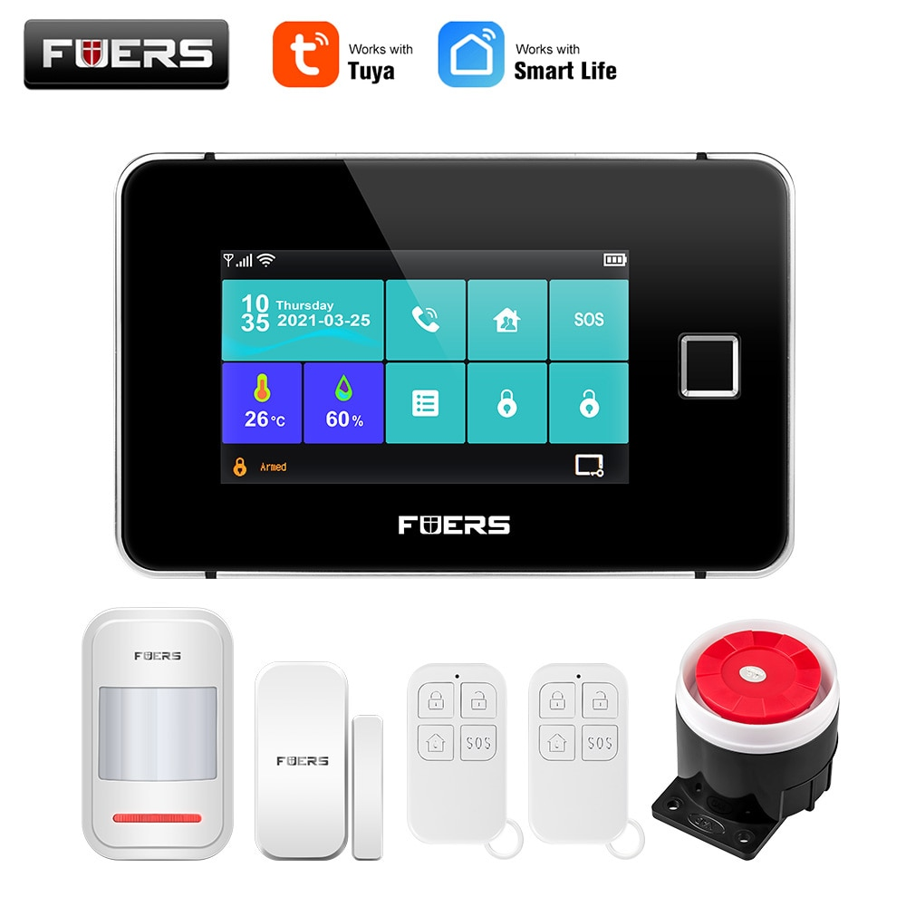 FUERS Tuya WiFi GSM Smart Home Security Alarm System Touch screen Temperature Humidity Display Fingerprint 433MHz Control Siren