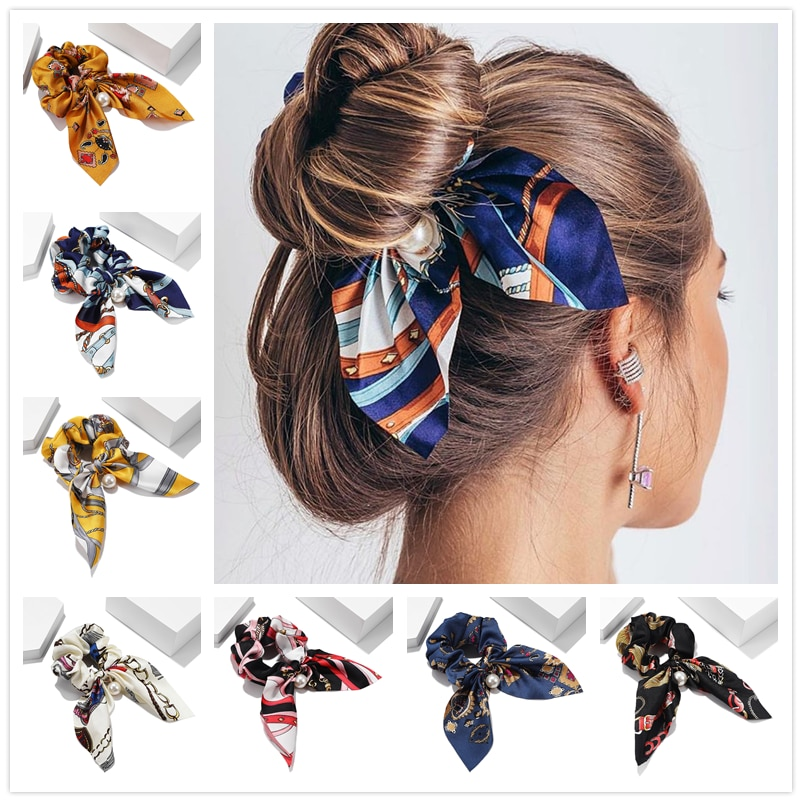 New Chiffon Bowknot Elastic Hair Bands For Women Girls Solid Color Scrunchies Headband Hair Ties Ponytail Holder Hair Accessorie