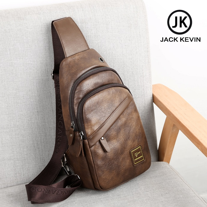 Jackvin-حقيبة كتف جلدية للرجال مع منفذ USB ، حقيبة ظهر للرجال مع حزام كتف ، حقيبة سفر عالية الجودة ، مجموعة جديدة
