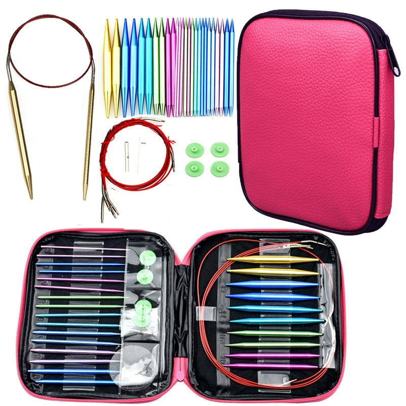 Circular Knitting Needles Set 26pcs Interchangeable Crochet Needles for Crochet Yarn Knitting Accessories Kit for Beginners Gift