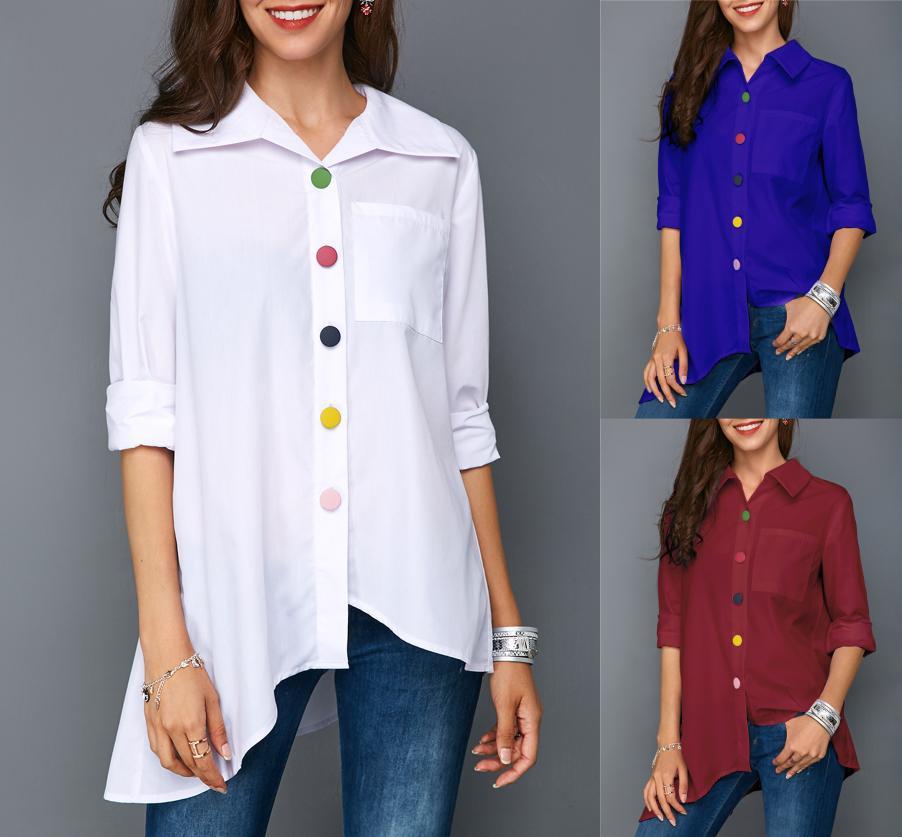 قميص نسائي بأزرار لأسفل, ملابس نسائية جديدة للربيع والخريف لعام 2021