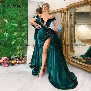 Yipeisha Dubai Evening Dress Sheer Neck High Slit Emerald Green Velvet Formal Dress Arabic Mermaid Prom Party Gown abendkleider