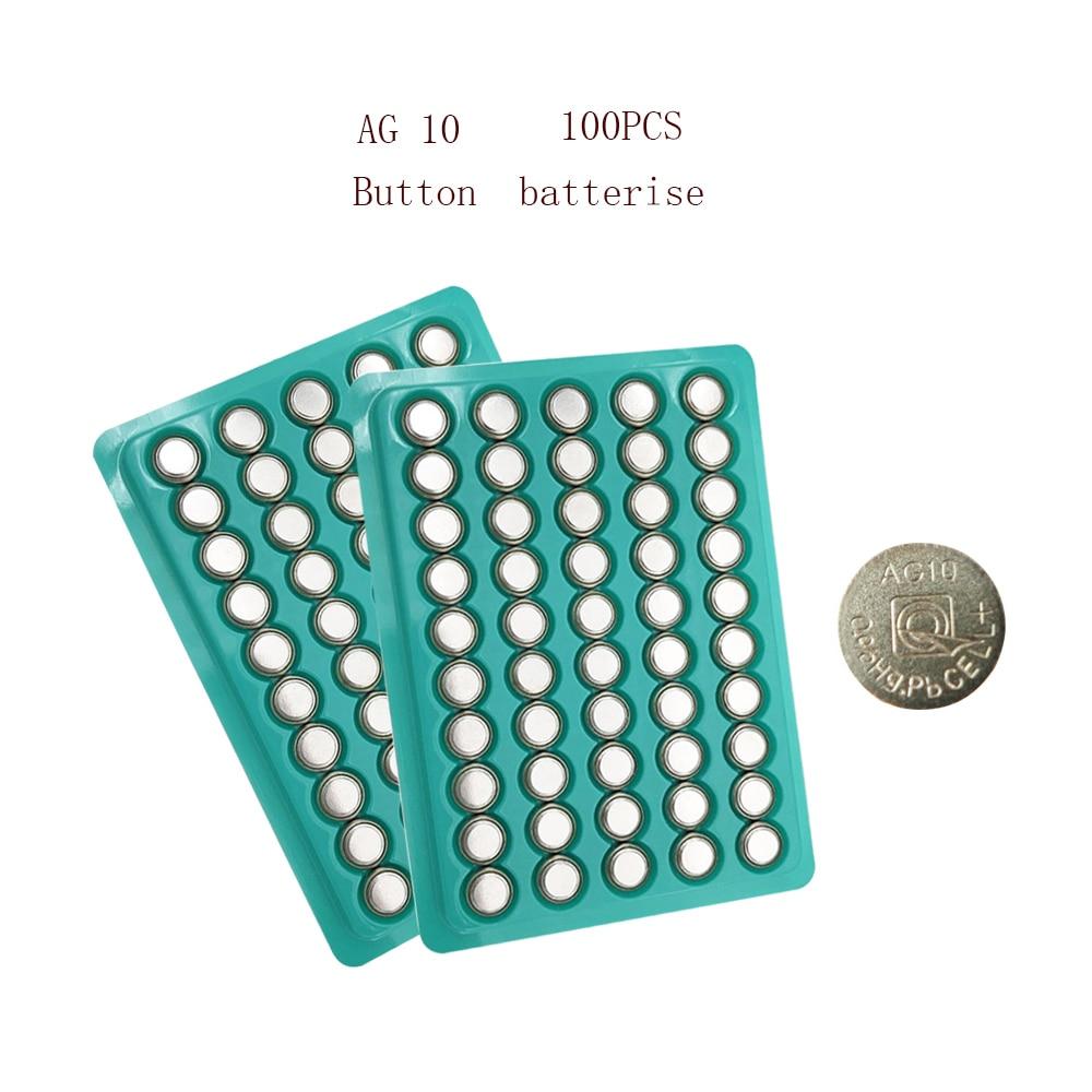 100pcs 150mAh AG10 AG 10 1.5V Button Cell Battery L1131 SR1130 189 LR54 Coin Button Batteries For Sm