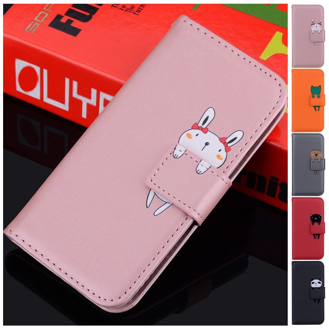 Bonito animal suporte capa para o caso apple iphone 12 mini 2020 11 12 pro max xr x xs 6g 7g 8g se 2020 cor sólida simples carteira d22g