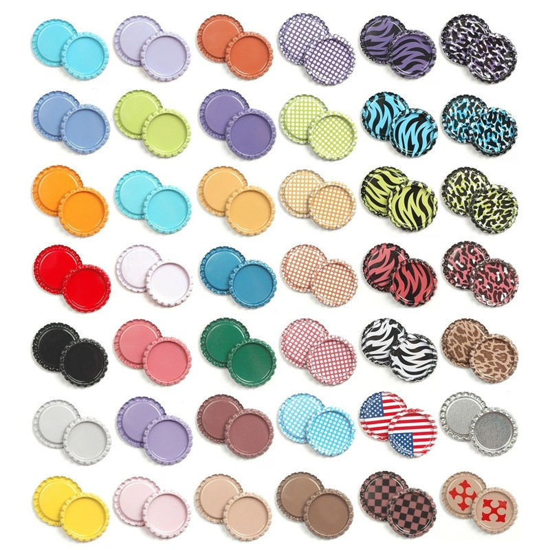 Lote de 100 unidades de tapas de botella aplanada redondas de colores, botones planos de 25mm para manualidades de lazo de pelo, lazos para el pelo, accesorios de joyería