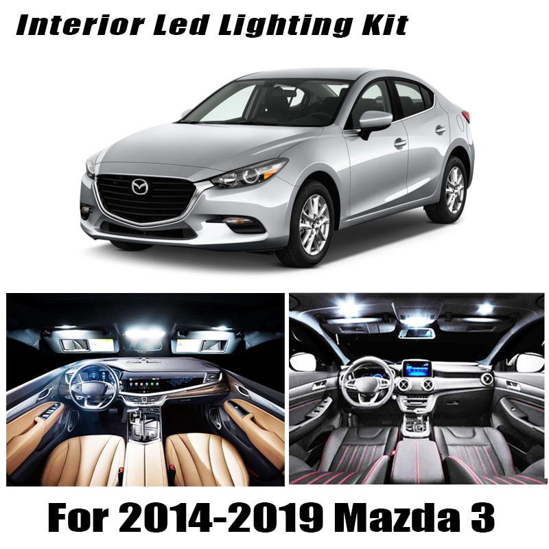 8Pcs Accessories Car interior lights upgrade Kit for 2014 2015 2016 2017 2018 2019 Mazda 3 led inter