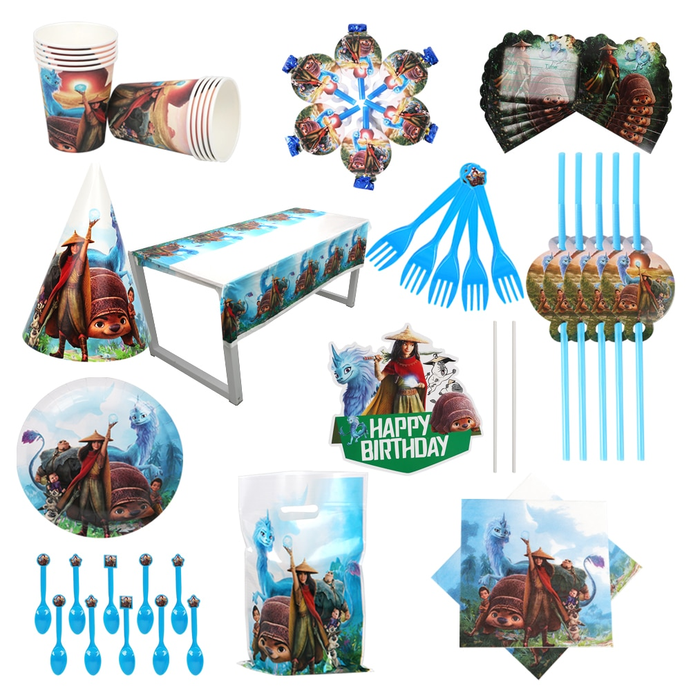 Raya and The Last Drag Birthday декоративная бумага для вечеринок Салфетка под тарелку кружку металлическая соломенная посуда Baby Shower Disney