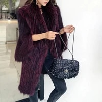 ct814 2020 winter new fashion womens real raccoon fur knit warm coat wine red noble jackets sweaters long coats