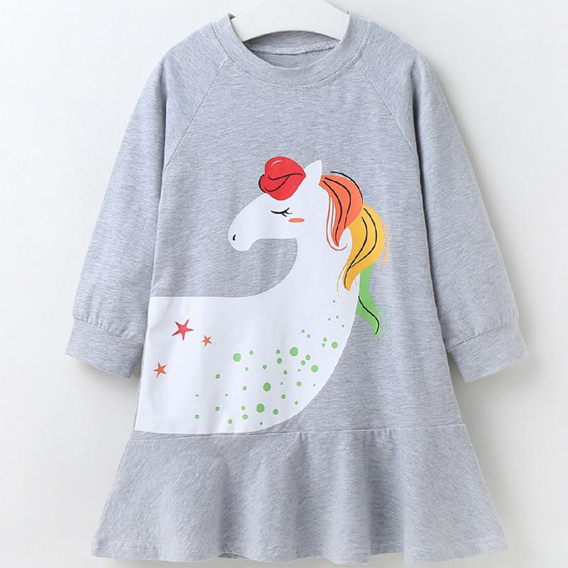 Новое платье для маленьких девочек, хлопковые платья с длинным рукавом с милыми мультяшными животными, лошадьми, повседневная домашняя оде...