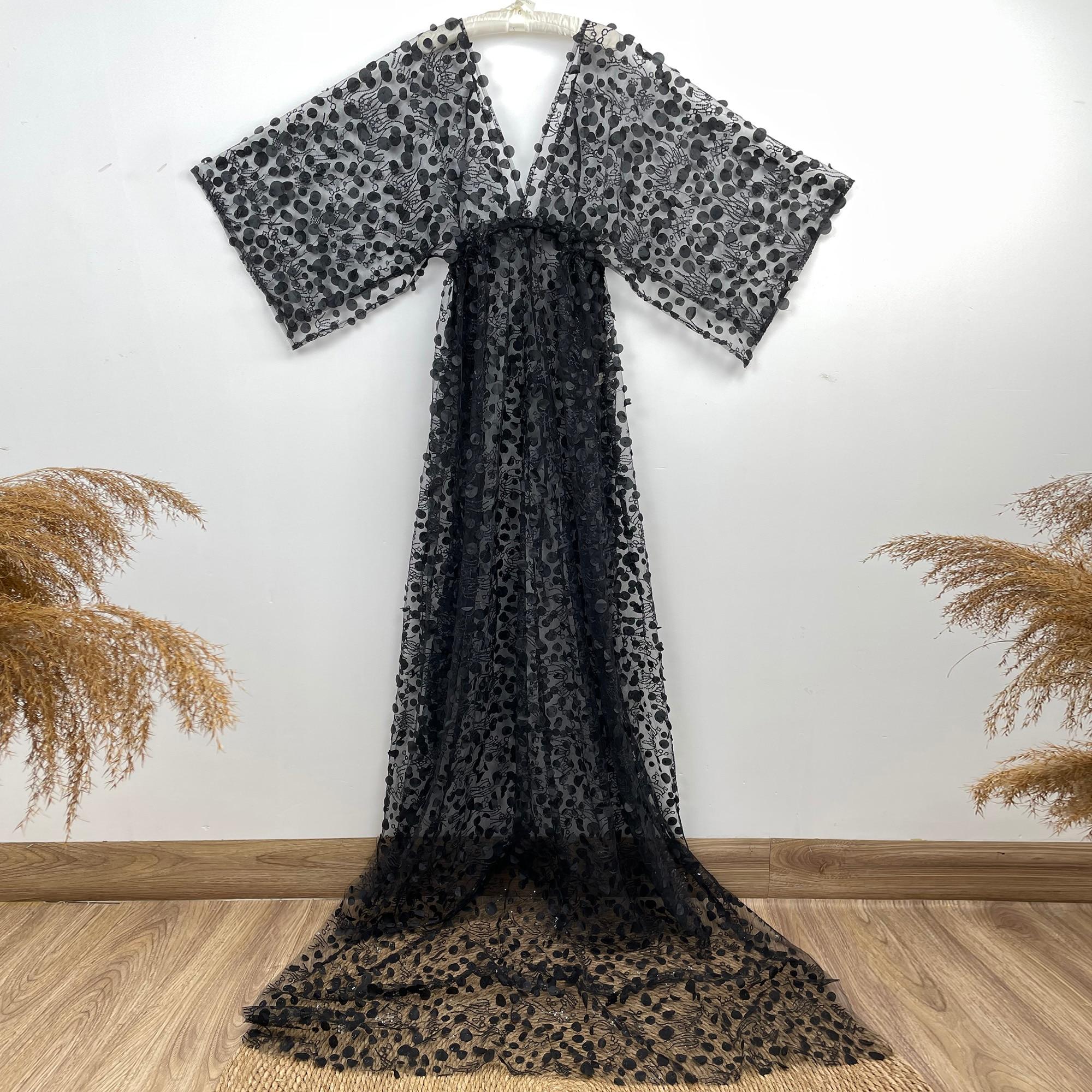 Don&Judy Black Women Photography Props Maternity Dresses Full Sleeves Pregnancy Sequin Long Dress Studio Shoot Photo Props 2021