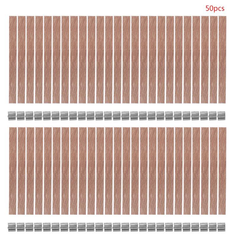 50 pçs de madeira pavio vela núcleo sustainer tab diy para velas que fazem parffi de cera de soja 13/12.5/8mm