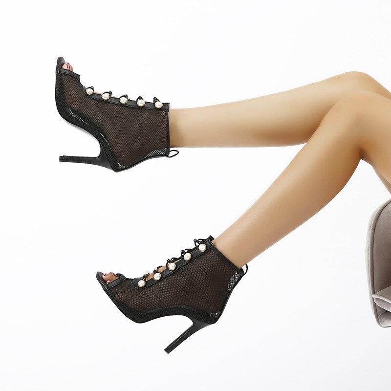 2020 Comercio exterior Europa y los Estados Unidos novedad de verano net stiletto Boca de pescado real - shot sandalia Mujer