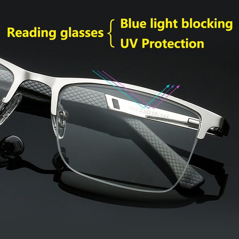 Ultra Light UV Protection Computer Reading Glasses Men Presbyopia Anti-blue Light Blocking Metal Half Frame Silver 1.5 2.5