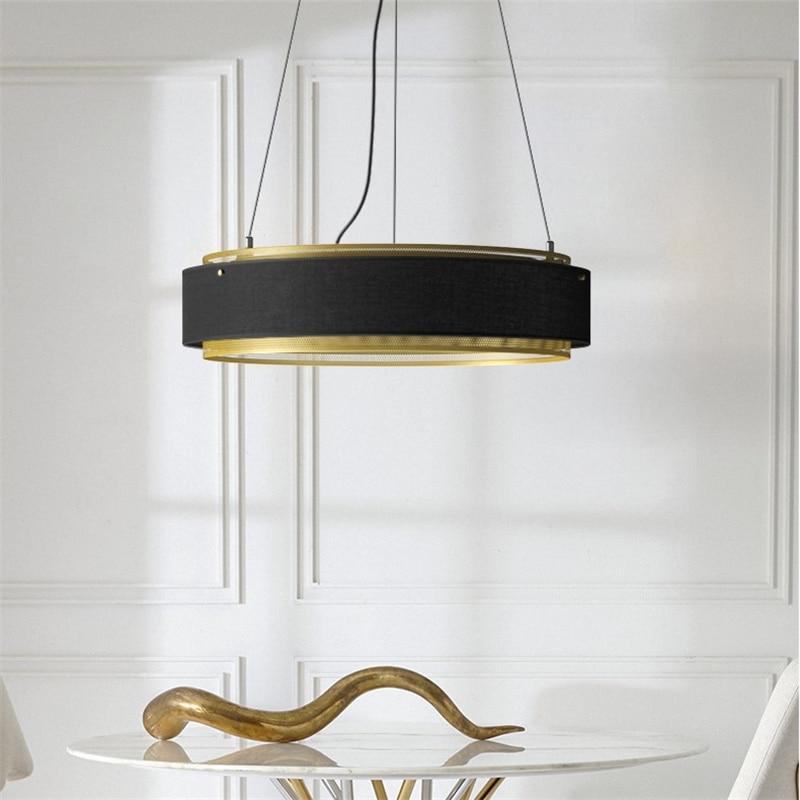 Luces colgantes redondas Led doradas de cobre posmodernas, lámpara colgante Industrial, lámpara colgante de cocina, accesorios de decoración para el hogar, para sala de estar y comedor
