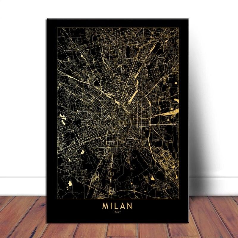 Milan, ciudad Maps Teal naranja póster e impresiones arte de pared pinturas en lienzo cuadros de pared decoración del hogar
