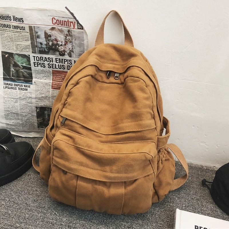 حقيبة الظهر الإناث متعددة جيب حقيبة طالب جديد عصري قماش بتصميم قديم حقائب مدرسية للفتيات المراهقات JT510028