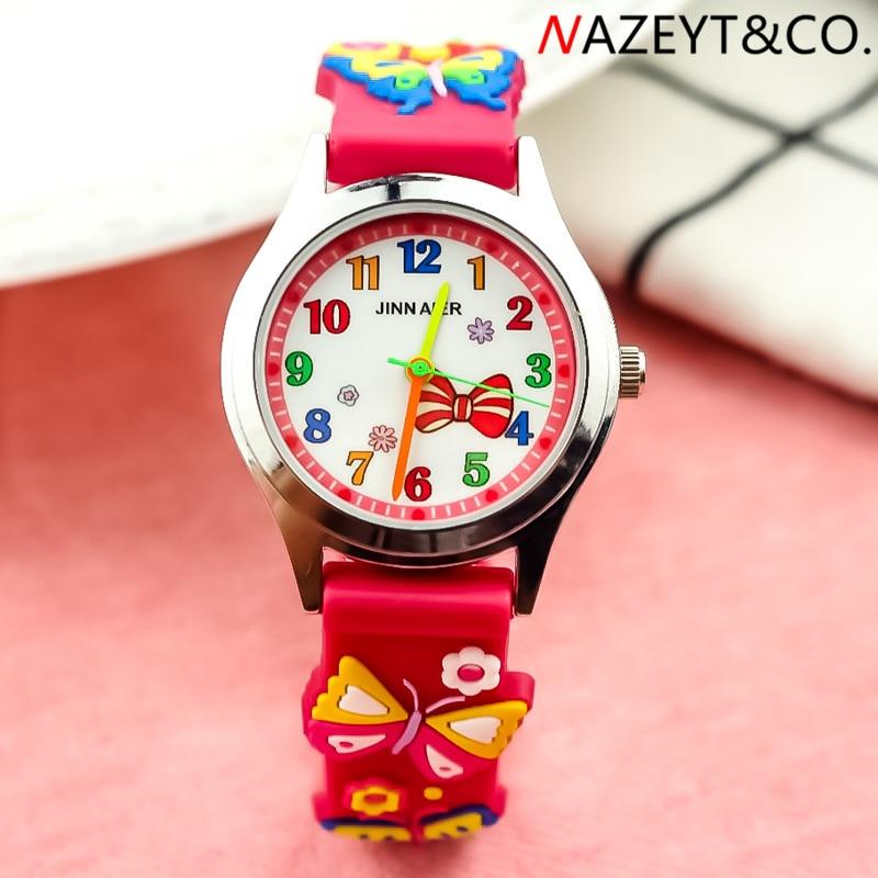 NAZEYT niños reloj de gelatina niños niñas lindo 3D mariposa correa de silicona Arco-Nudo cara de dibujos animados reloj de pulsera niños caramelo reloj