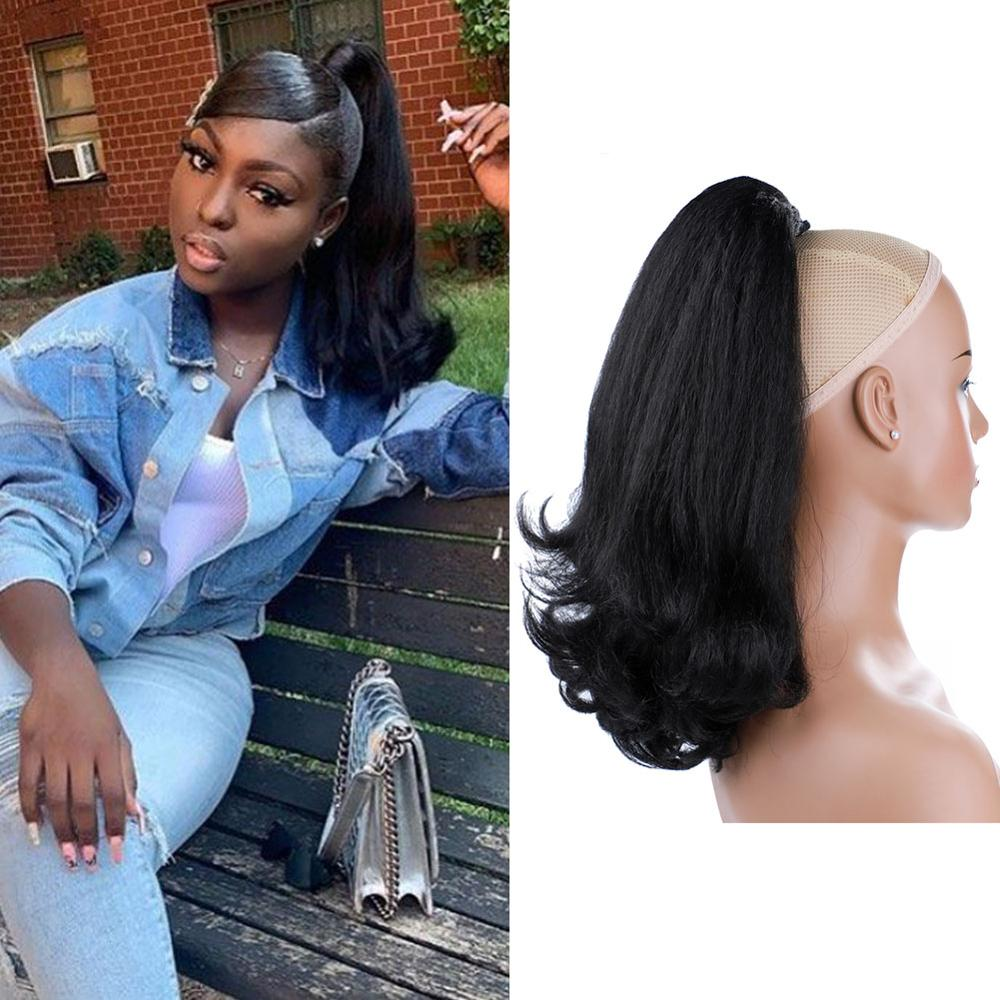 """Lydia Tail Warping Synthetic 16"""" Kinky Straight Hairpiece With Two Plastic Comb Drawstring Ponytail Hair Extension Natural Black"""