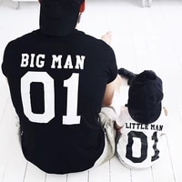 funny big man little men letter print family matching clothes dad and son t shirt graphic tees summer tips