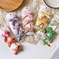 3 pcs korea children sweet lovely floral plaid fabric bow duckbill clip simple fashion girl princess barrettes hair accessories
