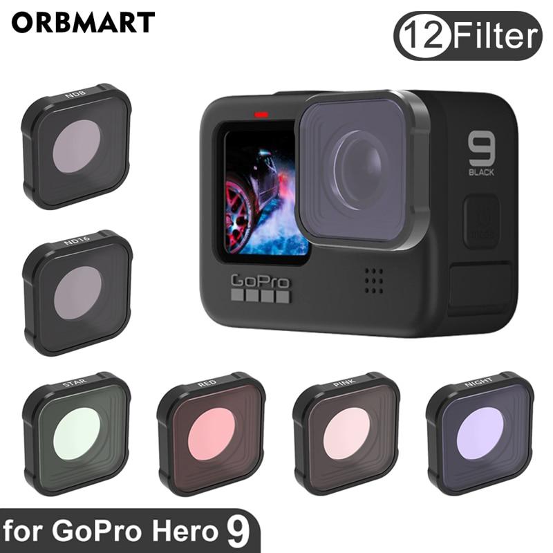 Orbmart gopro hero 9 filtro cpl uv nd 8 16 32 filtros de lente vermelha para gopro hero 9 preto hero9 gopro9 ir pro câmera acessórios