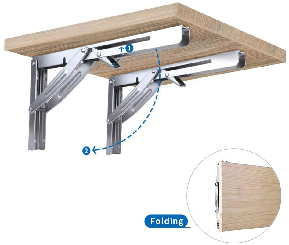 2 Pieces Folding Heavy Duty Shelf-Bracket Bench Table Folding Shelf or Bracket, Max. Load 550lbs