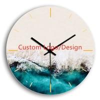 Noiseless Handmade Art Painting Wall Decor Wooden Custom Clock