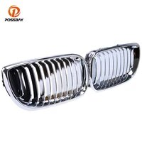 possbay 2pcs car front racing grille chrome silver grills for bmw 3 series e46 sedan touring 318d318i320d 2001 2005 facelift