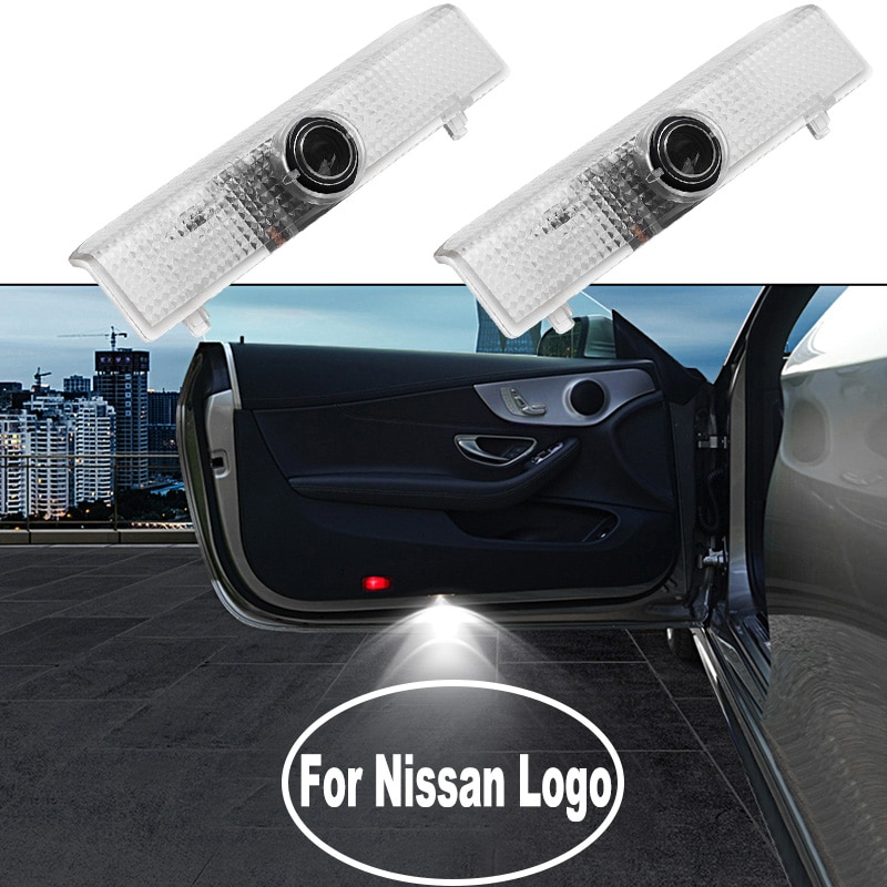 Hd led logotipo da porta do carro luz para nissan teana altima armada maxima quest titan distintivo sombra cortesia projetor lâmpada acessórios