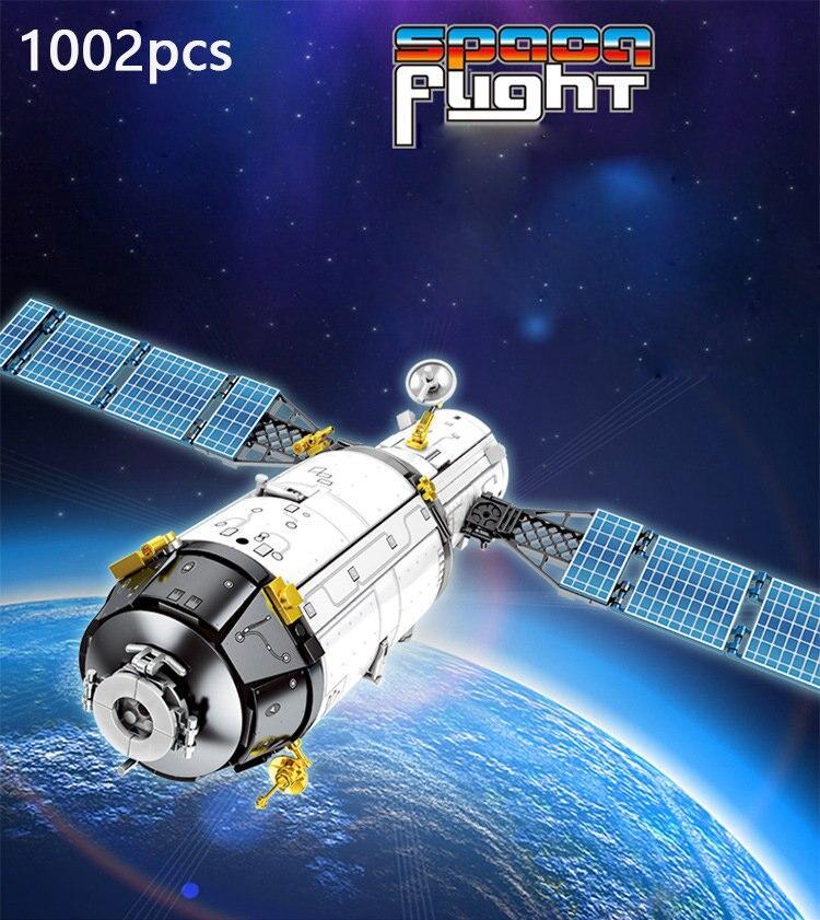 1002 Uds Creator Space Explorer bloque de plataforma de prueba conjunto nave espacial tripulada modelo Building Brick Toy para niños